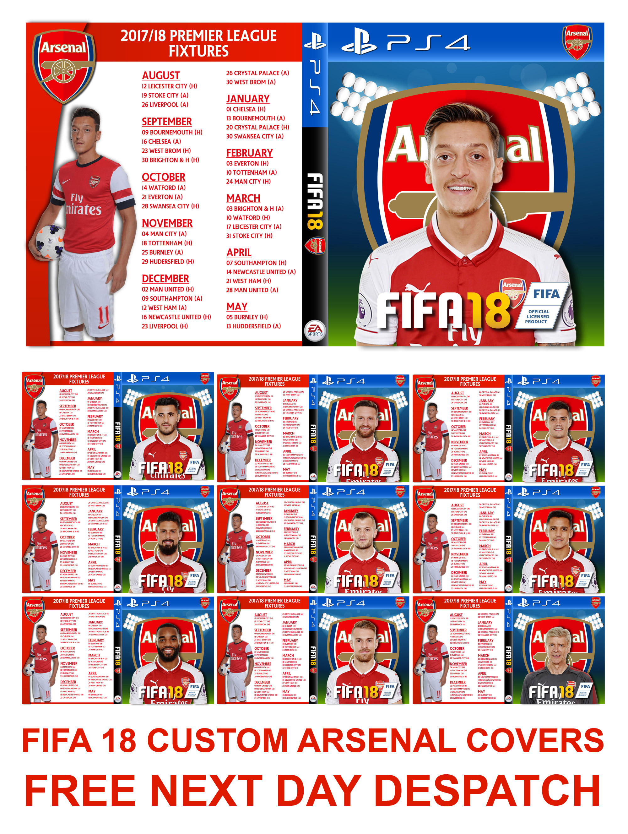 fifa 18 custom arsenal cover complete with club fixtures. Black Bedroom Furniture Sets. Home Design Ideas